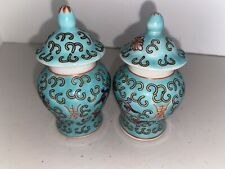 New ListingChinese Porcelain Ginger Jar Turquoise Lot of 2 Vintage Miniature
