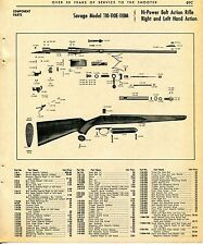 1965 Print Ad of Savage Model 110-110E-110M Bolt Action Rifle parts list