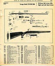 1965 Print Ad of Savage Model 110-110E-110M Bolt Action Rifle parts list