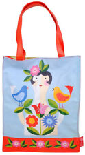 NEW Large PVC Shopping Tote Bag Girl With Birds and Flowers