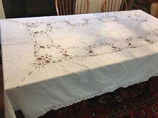 Vintage Linen Tablecloth Cutwork Design, Banquet Size