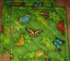 "Robert Kaufman""Butterflies"" 2 (8"") Handmade-Quilted-Insulated-Hot Pads"