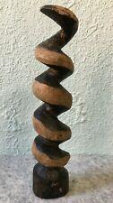 Vintage Primitive Hand Carved Wood / Wooden Spiral Screw Snake Statue Figurine