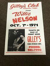 "Willie Nelson 1971 Gilley's Pasadena Texas Cardstock Concert Poster 12"" x 18"""