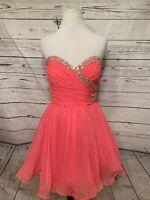 Mori Lee Hot Pink Prom Dress Sz 14 Rhinestone Strapless Barbie Party Dress Chiff
