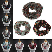Women Ladies Owl Pattern Print Scarf Warm Infinity Circle Cable Wrap Shawl Gifts