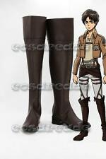 New Attack on Titan Eren Shingeki no Kyojin Jäger Cosplay Made Shoes Boots Brown