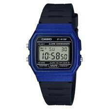 Casio Digital LCD Watch with Stopwatch, Alarm, Timer etc. Blue F-91WM-2AEF