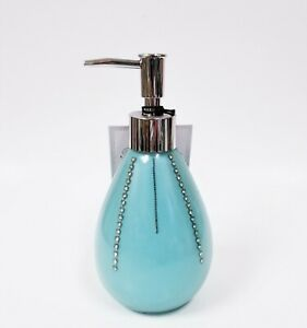 BELLA LUX SILVER,BLUE ACRYLIC+EMBEDDED CRYSTALS PEAR SHAPE SOAP+LOTION DISPENSER