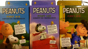 3 Boxes Snoopy & Peanuts Gang Band Aids First Aid Bandages 60 Strips FREE S/H!