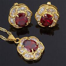 Women Party Red Ruby Flower Oval Cut Necklace Pendant Earrings Jewellery Set