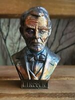 Small Vintage Metal Bust of Lincoln Figurine Vintage #5250