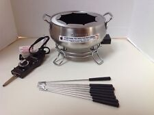 Electric Fondue Maker Cuisinart Cfo-3ss Chocolate Cheese Broth Forks 3qt Steel