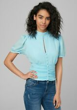 Bebe blouse top shirred ruched waist slit keyhole button light blue Sz 4 & 6 NWT