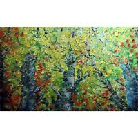 Fall Birch Trees Forest Extra Large Canvas Original Oil Painting Colorful Art
