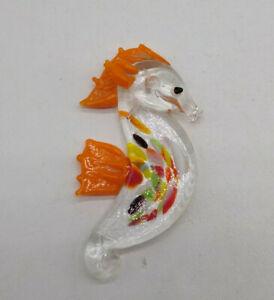 """Lampwork Glass Orange Seahorse Pendant/ Ornament; Confetti Design 60mm 2 1/2"""";"""