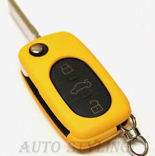 GIALLO Copertura Chiave per VW 3 pulsante caso fob remoto PROTEGGI AUTO OVALE ROUND 42y