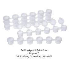 3ml Empty Paint Pot Strips - 6 pots per strip with snap close lids