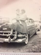 "1954 Chevy, Vintage Photo, Texas Plates, Woman With Child, 3.5"" X 3.5"" 04/1955"