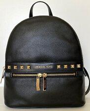 New Michael Kors KENLY Medium Backpack Pebble Leather Studs Black