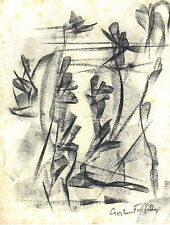 Zoltan Perlmutter Hungarian Israeli artist Charcoal abstract drawing, signed