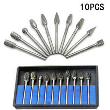 10Pc Tungsten Carbide Rotary Tool Burr Routing Router Bit Mill Cutter Attachment