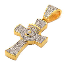 14K Gold Plated Iced Out CZ Crown Lion Cross Hip Hop  Pendant With Free Chain