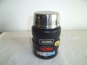 Thermos food flask & spoon matt black 470ml, wide top for soup or drink new
