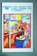 R&L Postcard: Comic, HB 4912 Chemist Shop, Dummy, Baby in Pram