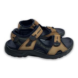 Ecco Yucatan Sandals Brown Leather Bison Nubuck Sport Men's Size EUR 43 US 9.5