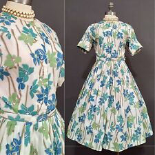 RARE Vintage 50s Pin Up Rockabilly Dress Floral Tea Full VLV 40s L 14