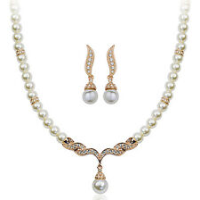 ITALINA 18K ROSE GOLD PLATED AUSTRIAN CRYSTAL & PEARL NECKLACE & EARRING  SET