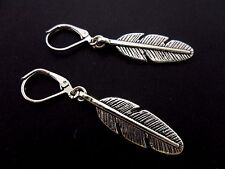 A PAIR OF TIBETAN SILVER FEATHER EARRINGS WITH LEVERBACK  HOOKS. NEW..