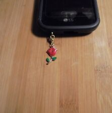 Rose Cell Phone Clip Charm Gold~Dust Plug Cover~Free Ship