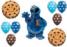 COOKIE MONSTER Chocolate Chip Sesame Street Party 9 Pc Mylar Latex BALLOON Set