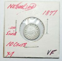 1877, 10 Cents Netherlands Silver Rare Only 1 MM Minted High Value Vintage Coin