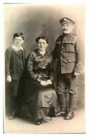 Antique WW1 RPPC military postcard portrait of a soldier wife & son