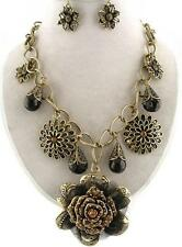 Brown crystal flower charm gold earring necklace set bib fashion costume jewelry