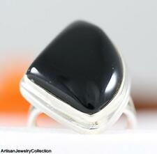 BLACK ONYX & .925 Sterling Silver RING Size ~8