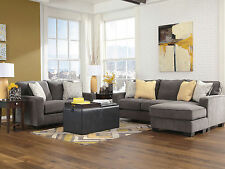 HARRISON Contemporary Living Room Gray Microfiber Sofa Couch Chaise Loveseat Set