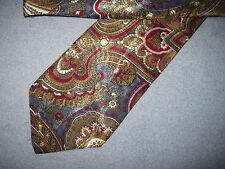 Mens Gold Red Blue Print Tie Necktie Towncraft~ FREE US SHIP (7000)