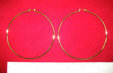 "MADE IN USA - Gold Plated ~3-1/8"" Plain Hoop Earrings (#10803)"