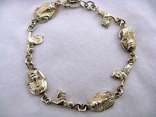 """Egyptian Sterling Silver King Tut Sphinx Bracelet 8"""" #211"""