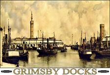 Art ad Grimsby Muelles carril de ferrocarril tren británico viajar cartel impresión