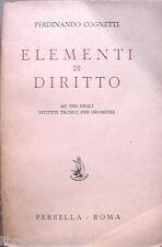 ELEMENTI DI DIRITTO Ferdinando Cognetti Perrella 1954 Manuale Giuridica Privato
