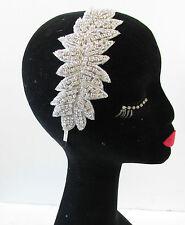 Silver Rhinestone Leaves Headband Vintage 1920s Headpiece Flapper Diamante T39