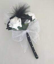 ARTIFICIAL WHITE BLACK FOAM ROSE FLOWER GIRL FEATHER WAND WEDDING FLOWERS POSIE