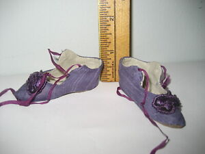 Wonderful used small SILK SHOES for antique French boudoir bed or fashion doll
