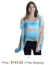 Gypsy 05 Haley Square Top, 100% Silk, Turquoise Aztec, XS - NWOT - Retail $143