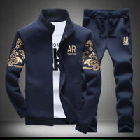 2pcs Set Men Casual Tracksuit Sport Jogging Athletic Jacket+Pants Sportswear